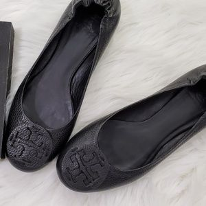 Tory Burch All Black Leather Reva Flats